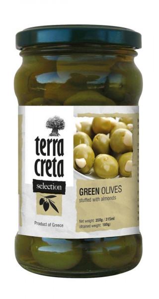 Oliven grün gef. mit Mandeln 160g Glas Terra Creta