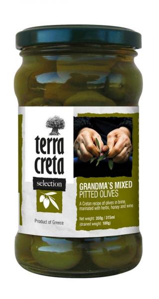 """Oliven Mix """"Grandma's"""" in Olivenöl/Weinessig 160g Glas Terra Creta"""