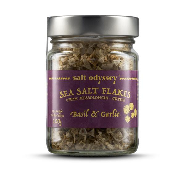 Salzflocken mit Knoblauch & Basilikum 100g Glas Salt Odyssey