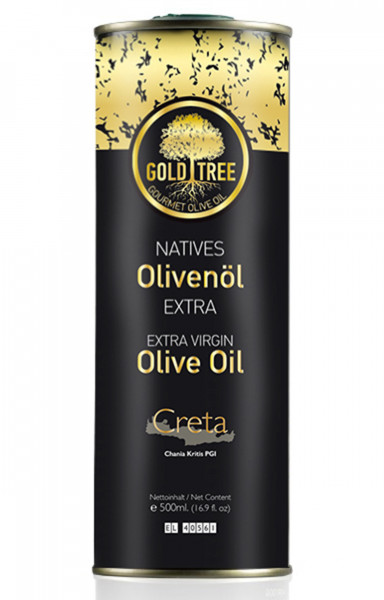 "Natives Olivenöl Extra aus Kreta ""GOLD TREE"" 500ml Metall-Kanister"