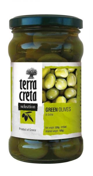 Oliven grün mit Kern in der Salzlake 160g Glas Terra Creta